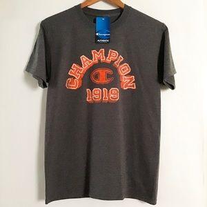 Champion 1919 logo men's t-shirt Small gray orange